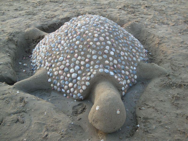 27. Черепашка из ракушек - Очень распространенных вид песчаных скульптур среди отдыхающих. Вечером все песчаные постройки сравниваются, а ямы закапываются, чтобы не мешать маленьким черепашкам ползти к морю.