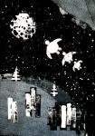 15. Полет космических черепашек - фактура, аппликация. Все подручные средства (детские кубики, антенны от конструктора...) макаются в гуашь...