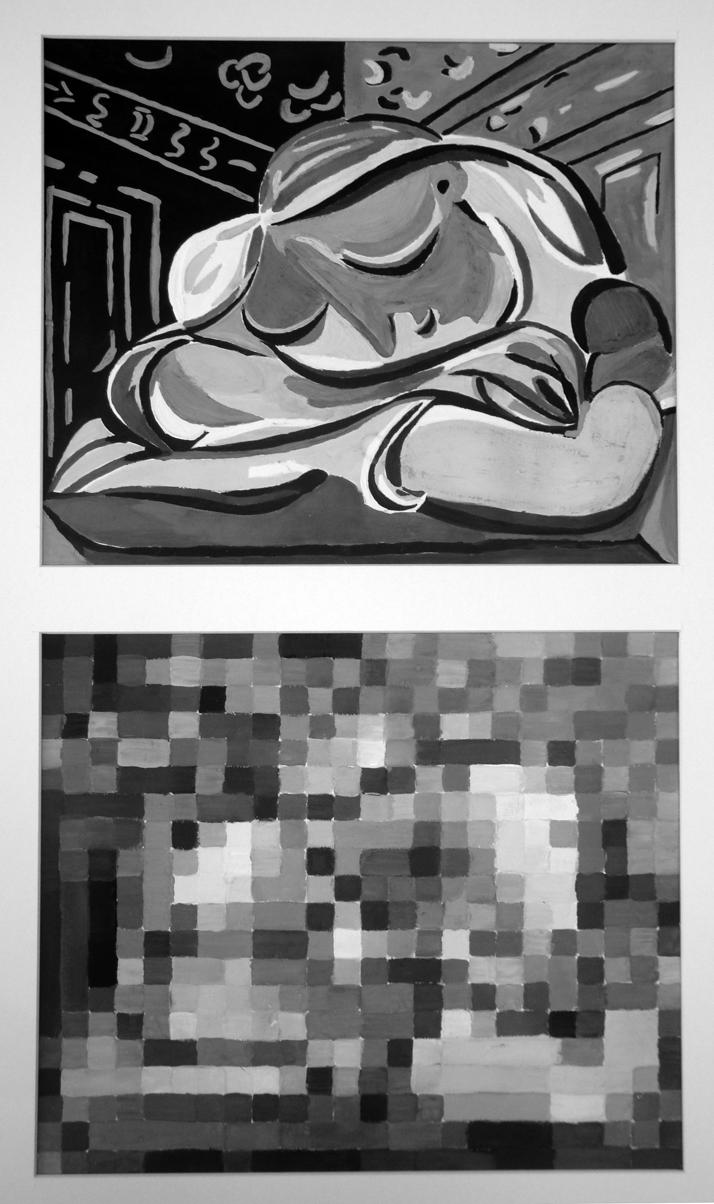 17. Пикассо, пикселизация - внизу маленькие-маленькие квадратики